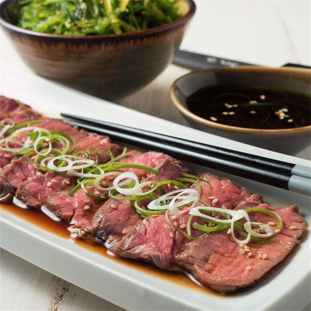 Japanese Beef Tataki with Ponzu Dipping Sauce