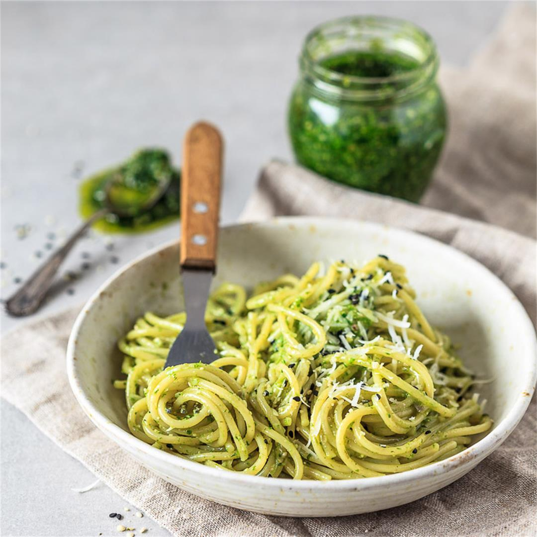 Wild Garlic Pesto Spaghetti