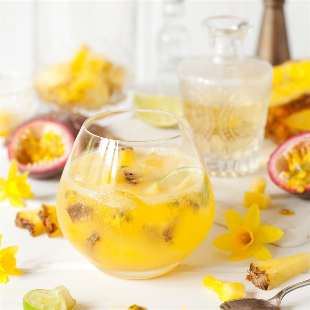 Tropical Spring Gin & Tonic with Passionfruit & Pineapple