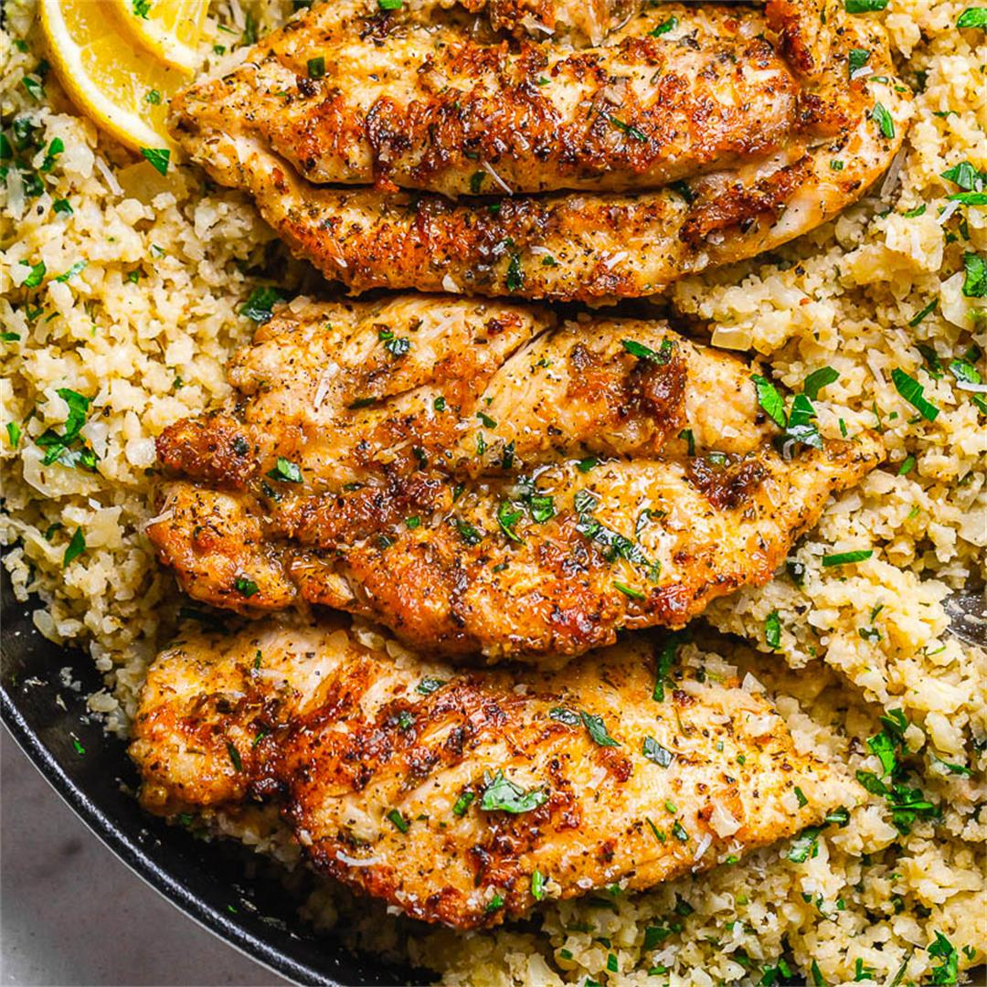 15-Minute Garlic Butter Chicken with Parmesan Cauliflower Rice