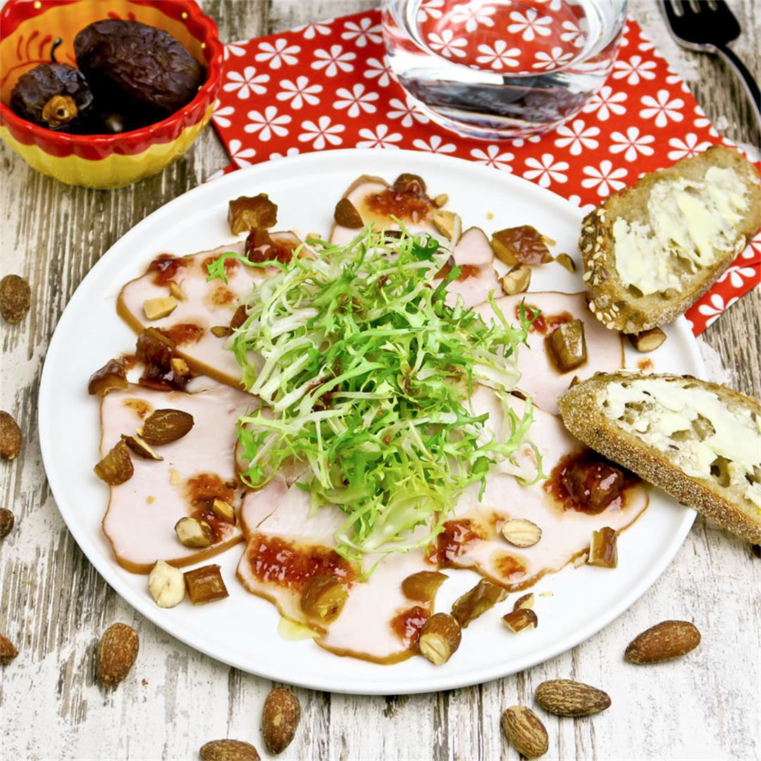 Smoked turkey salad with dates, smoked almonds and fig dressing