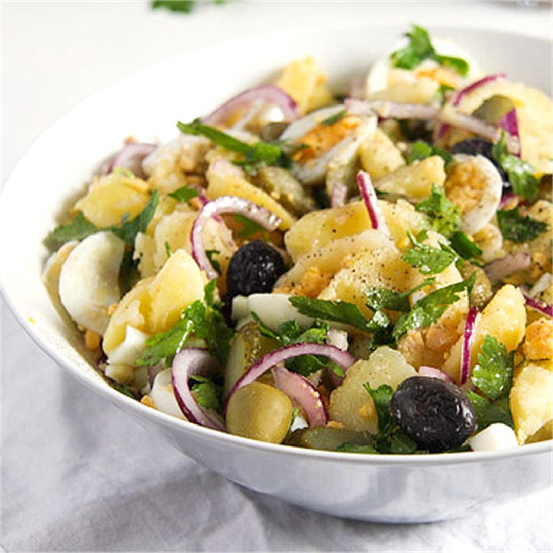 Potato Salad with Eggs, Olives and Gherkins