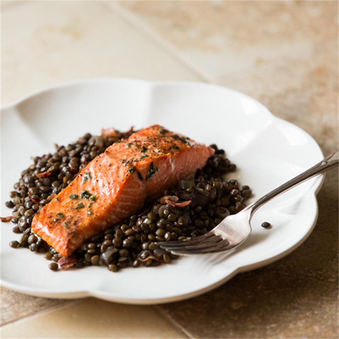 Salmon with Lentils and Crispy Pancetta