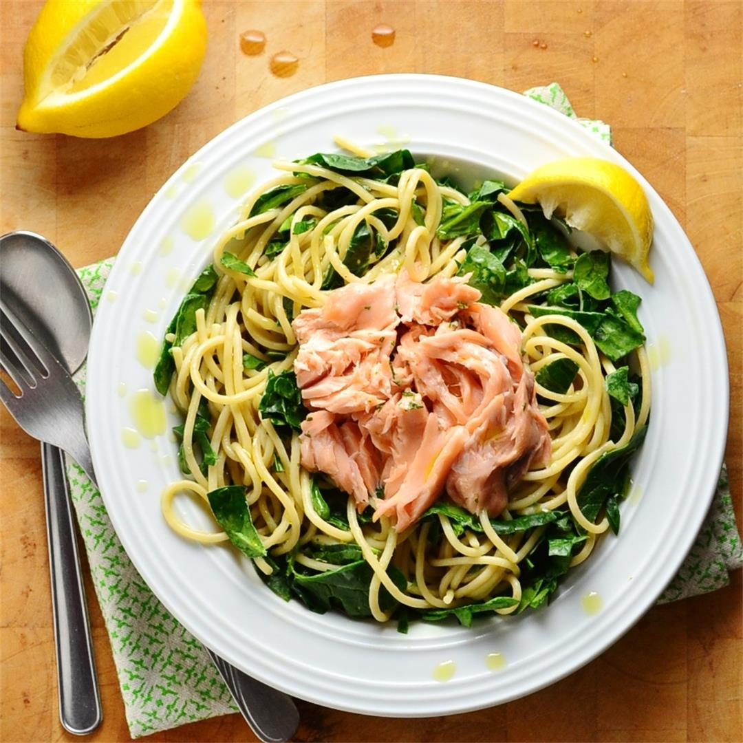 Leftover Salmon Spinach Pasta