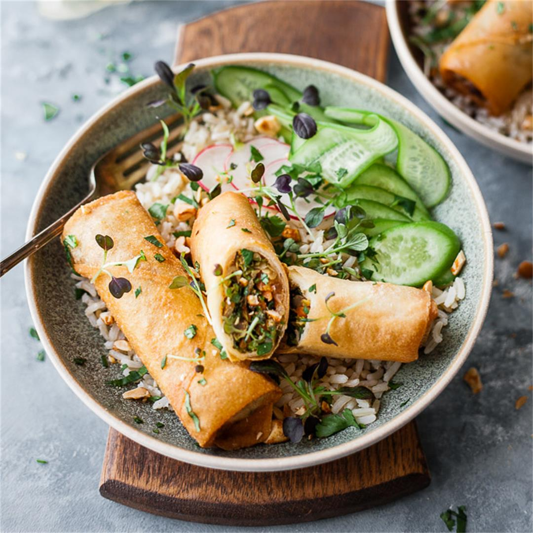 easy vegetable spring roll bowls