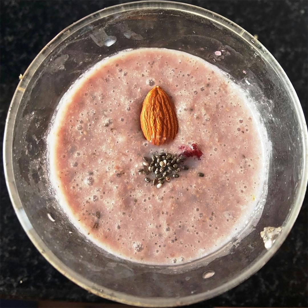 Pomegranate milkshake with chia seeds