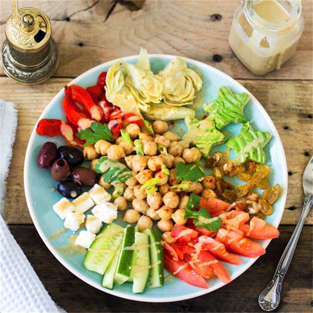 Lebanese Chickpea Salad with Smoky Tahini Dressing