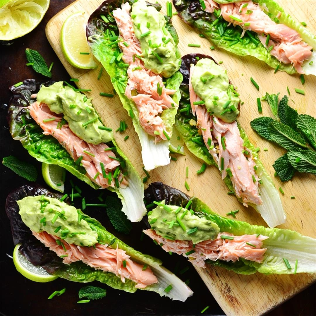 Leftover Salmon Lettuce Boats with Minty Guacamole