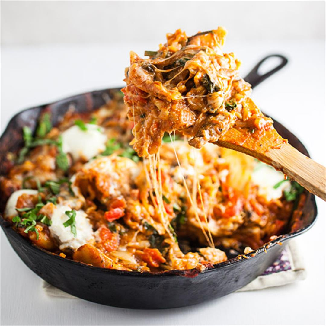 Cheesy Skillet Vegetable Lasagna