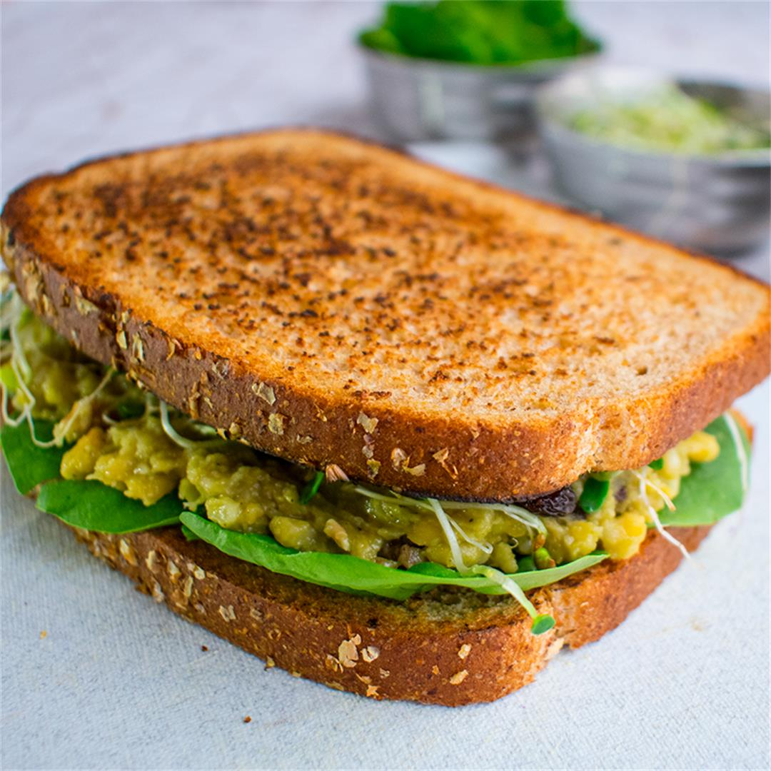 MAshed Chickpea and Avocado Sandwich