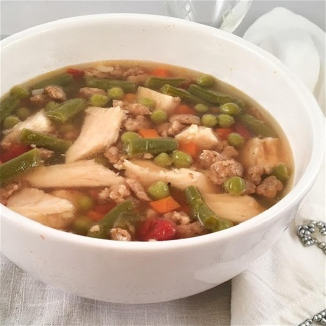 Chicken Vegetable Soup with Crumbled Sausage