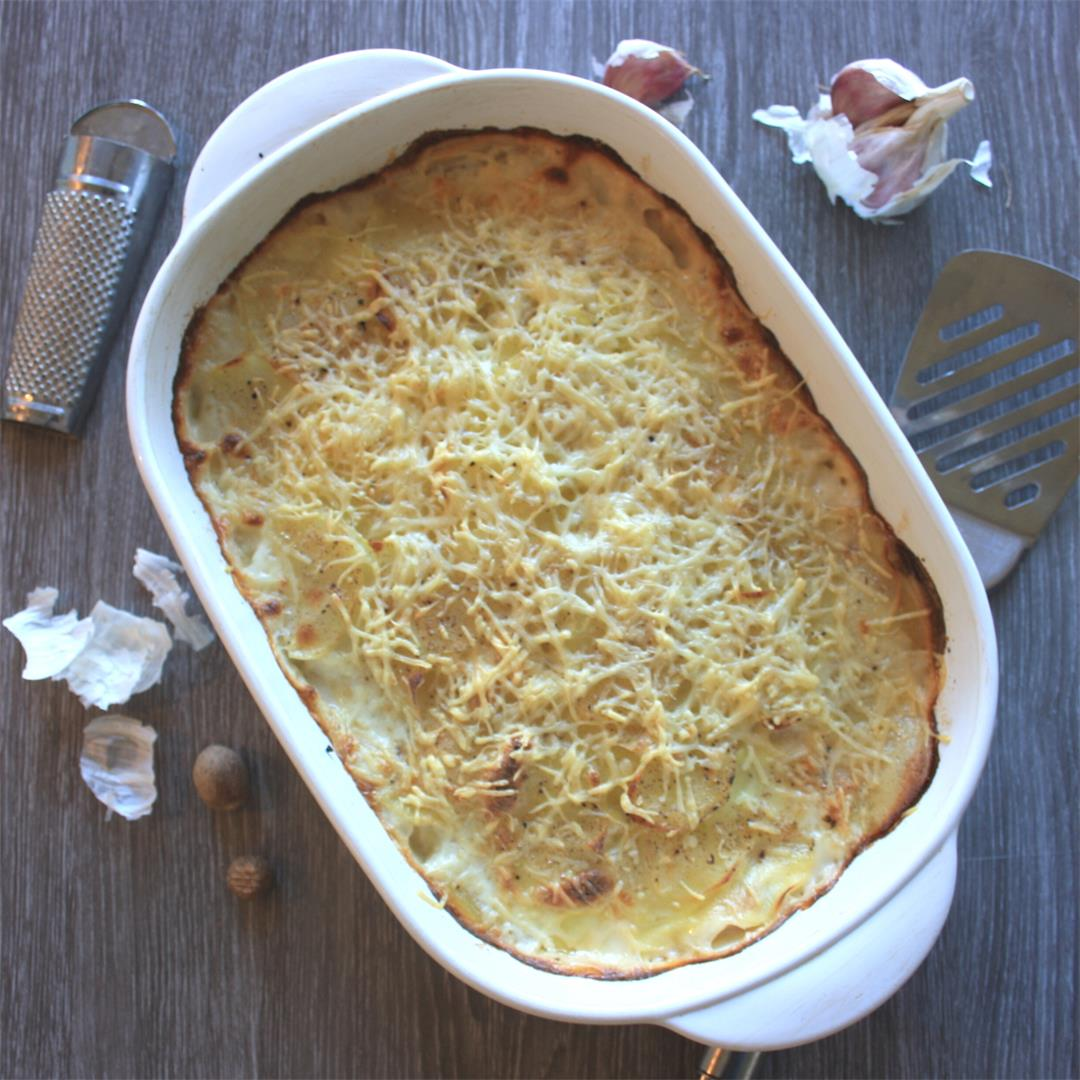 French Potatoes Gratin Dauphinoise with Bacon