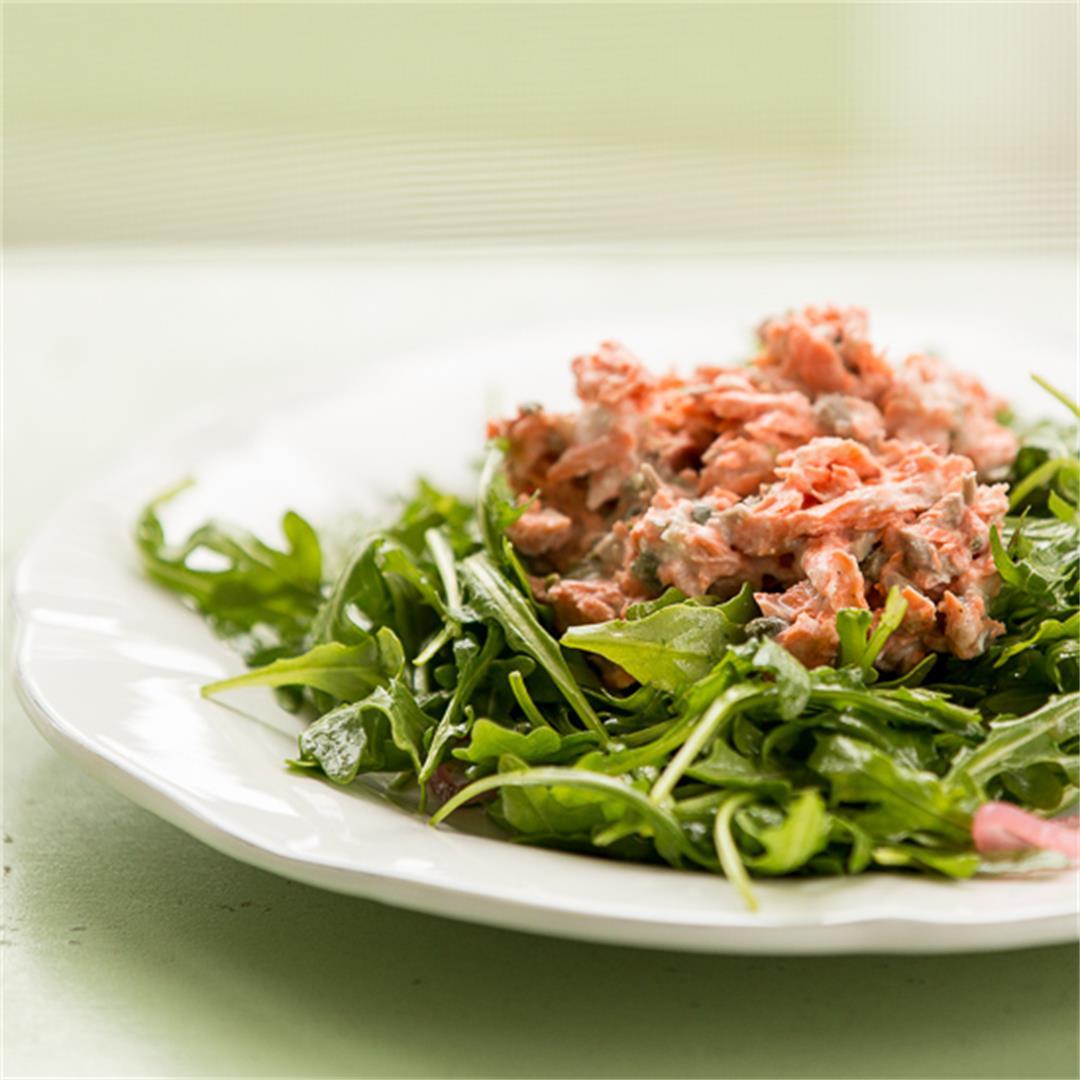 Salmon Salad on Arugula