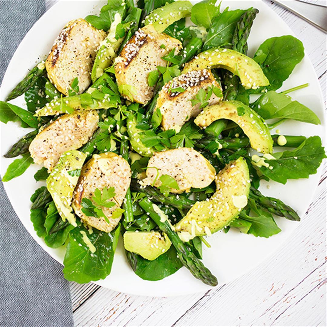 Chicken, Avocado & Asparagus Salad with Lemon Cashew Dressing