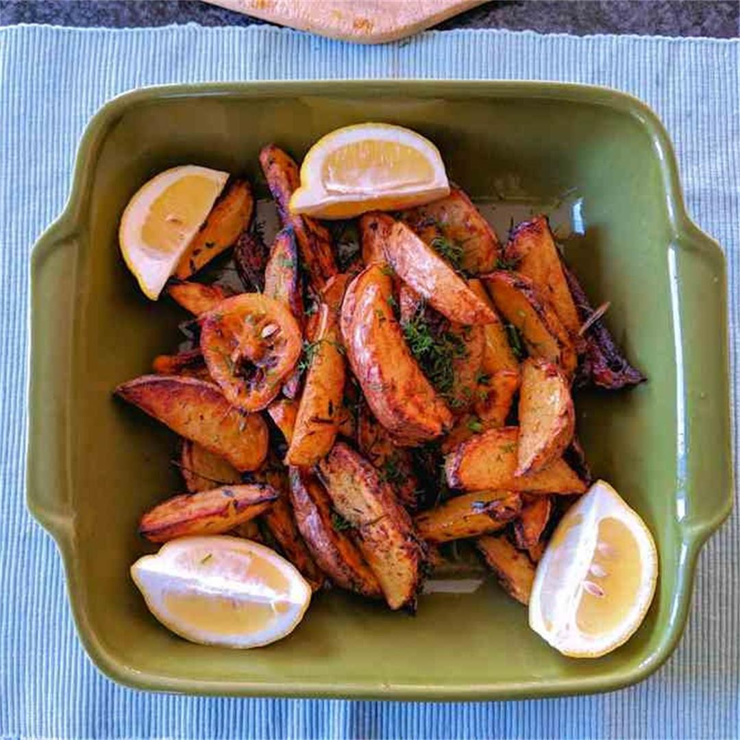 Lemon roasted potato wedges