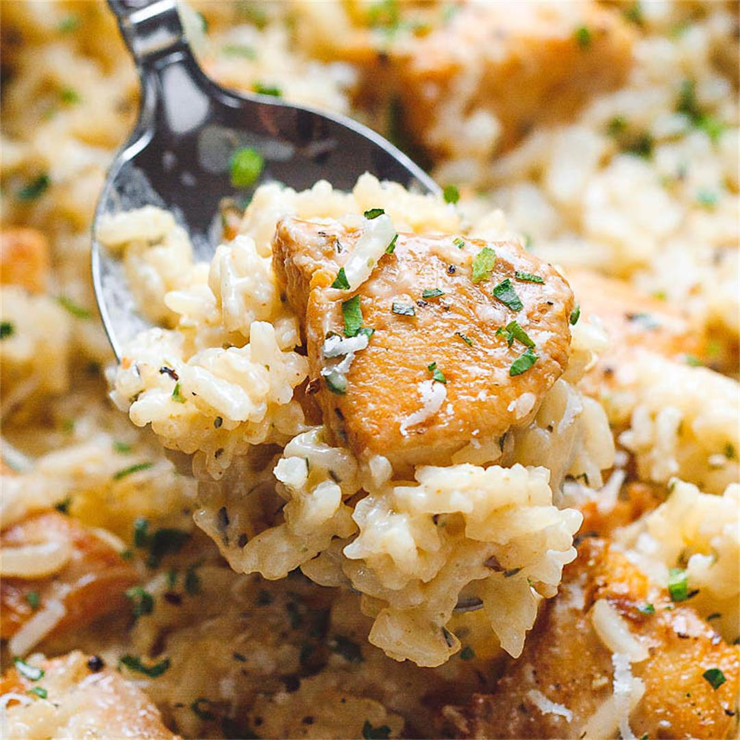 One-Pan Creamy Parmesan Chicken and Rice
