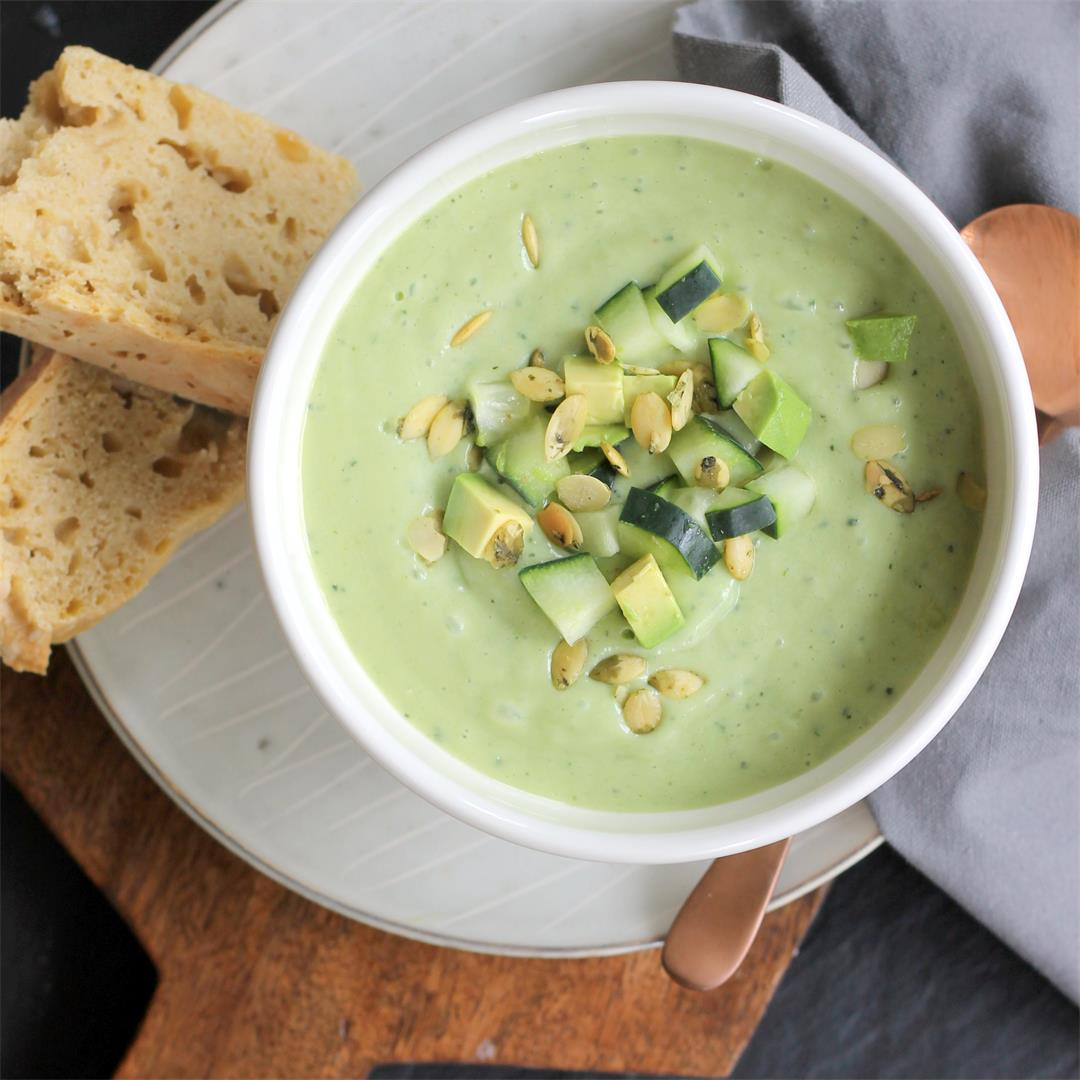 Cold and Refreshing Cucumber Avocado Soup