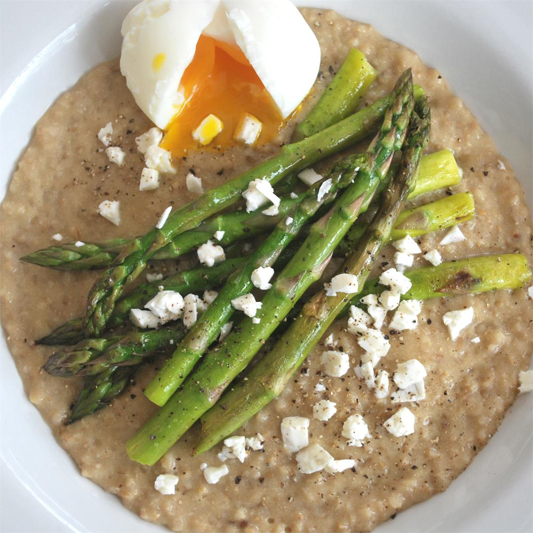 Soft Egg and Asparagus on Steel Cut Oats
