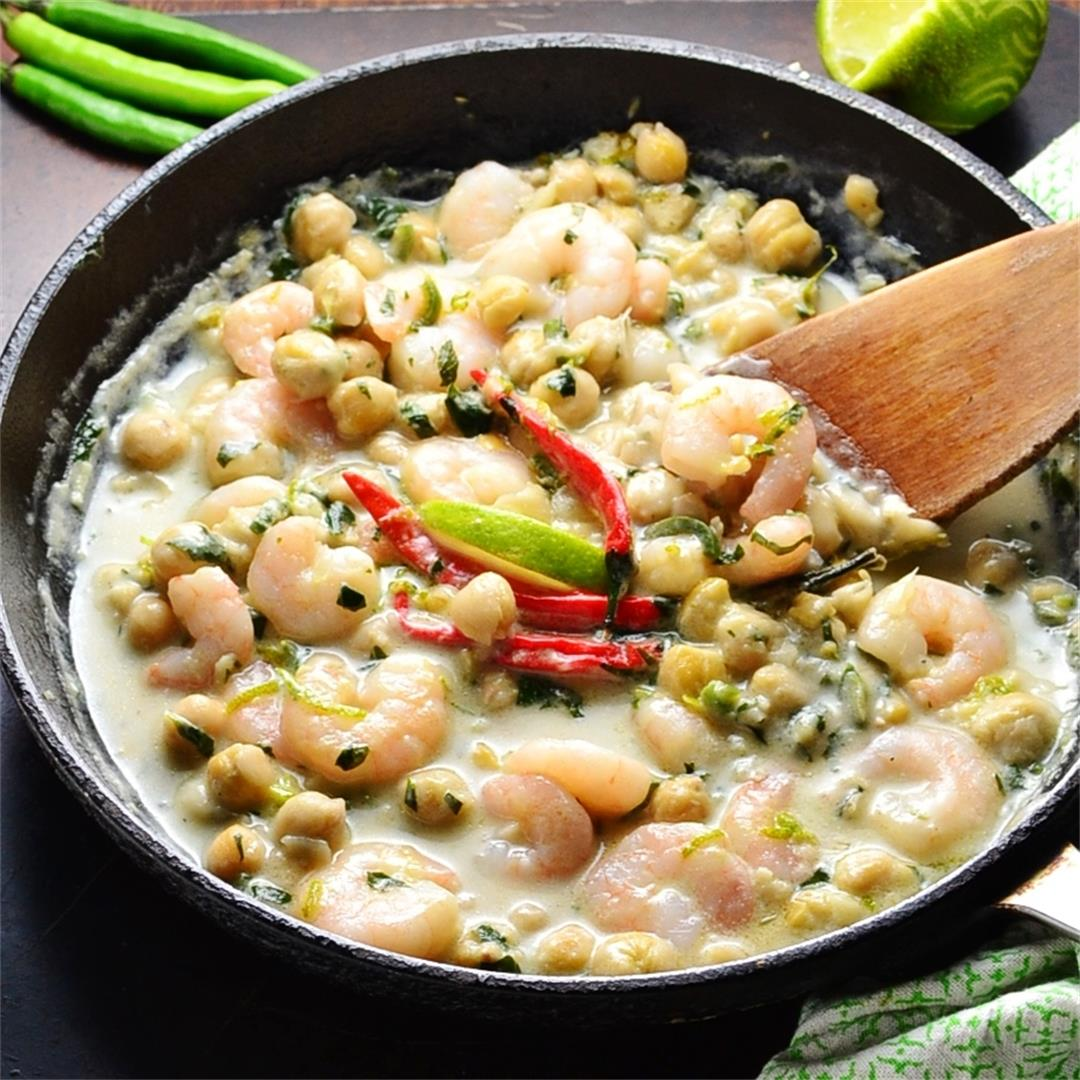 Creamy Thai Basil Prawns with Chickpeas