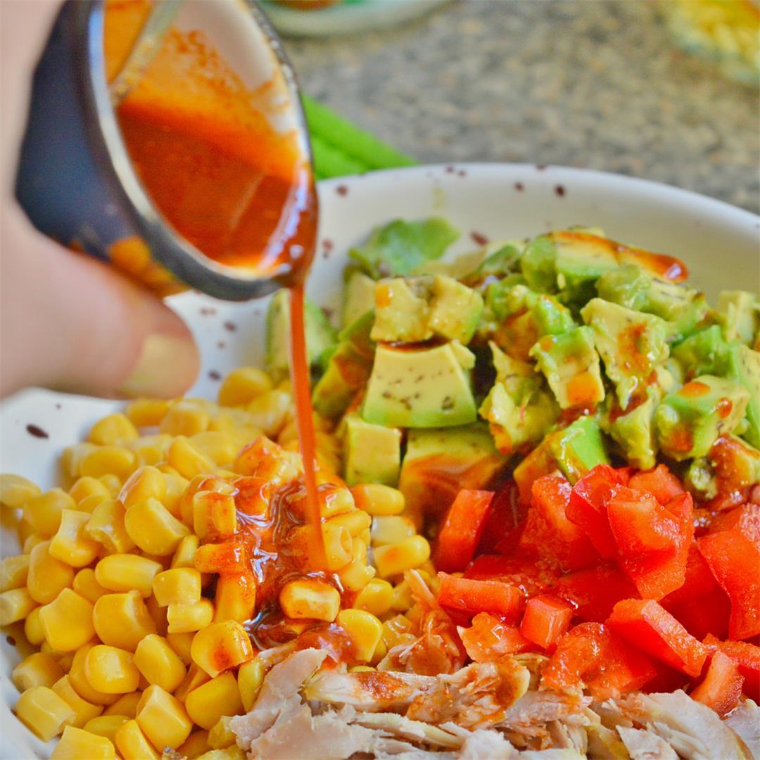 Chicken Salad Bowl with Spicy Harissa Dressing