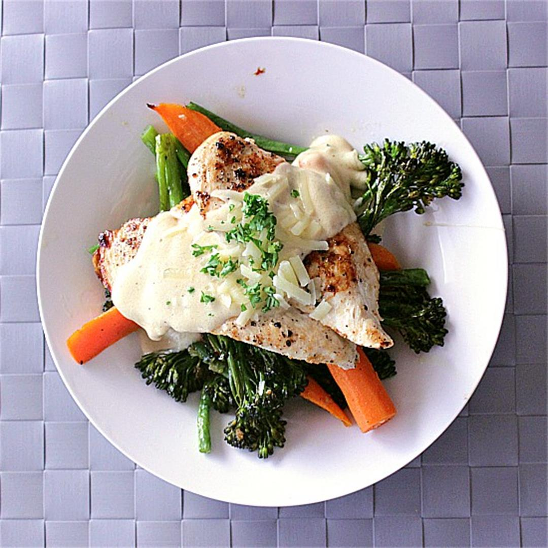 Chicken Alfredo with Roasted Vegetables