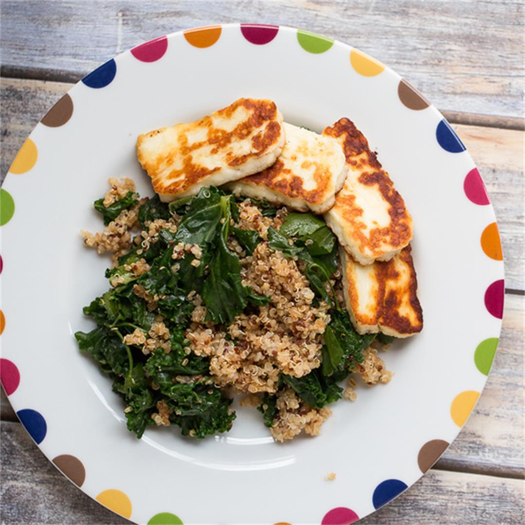 Quinoa, Kale and Halloumi Salad