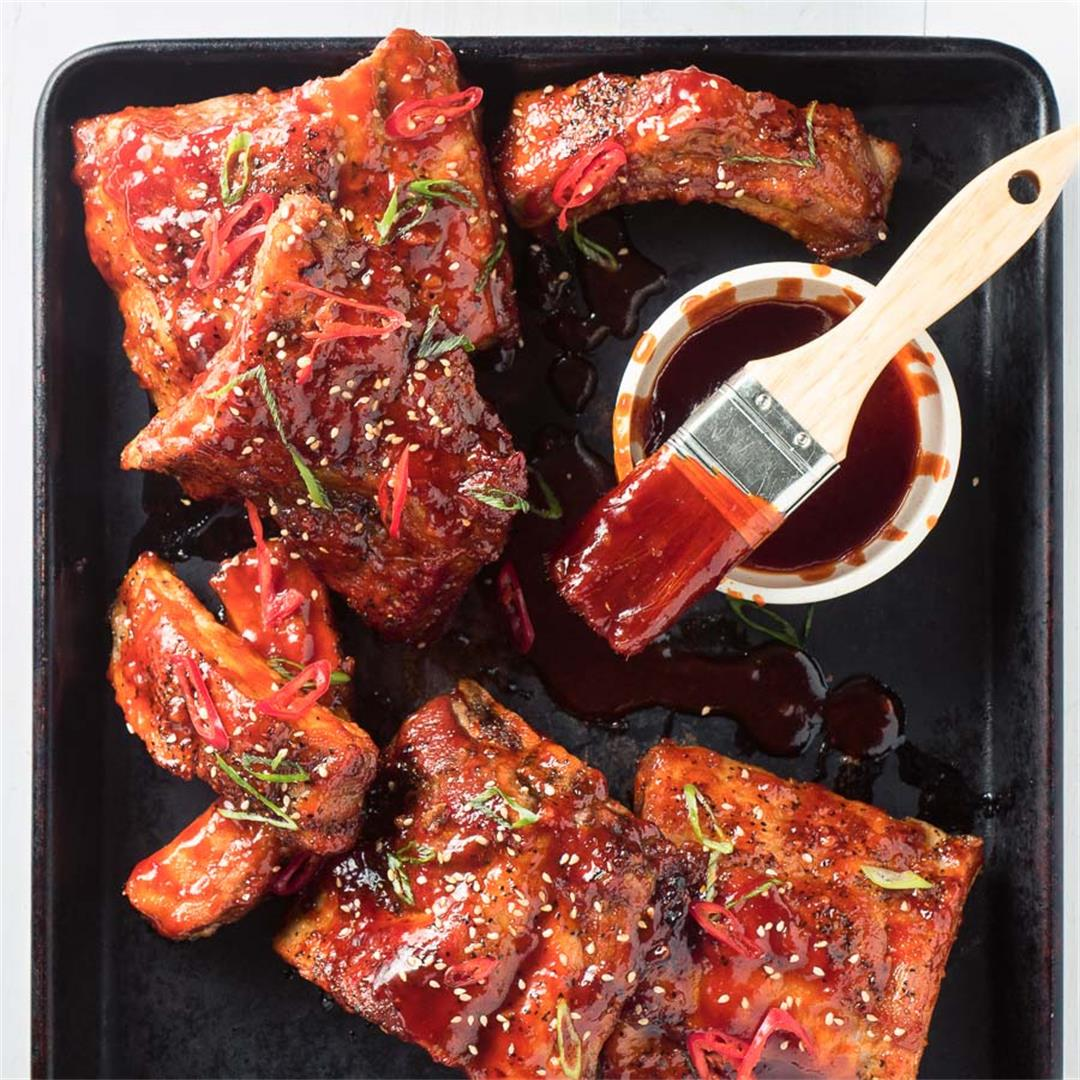 Sticky Pork Ribs with Gochujang Glaze