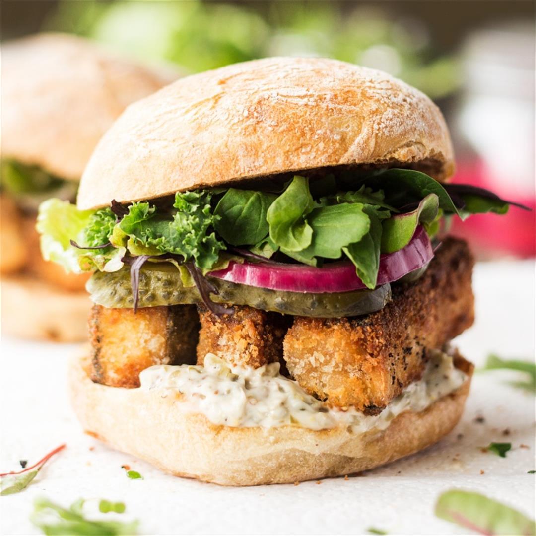 Vegan fish finger sandwich