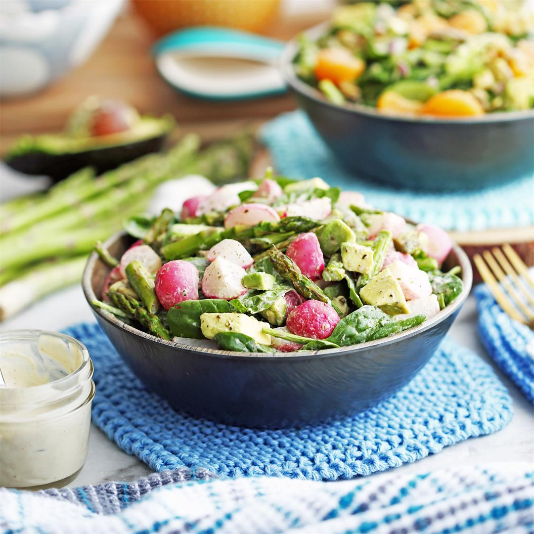 Roasted Asparagus and Radish Salad with Creamy Garlic Dressing
