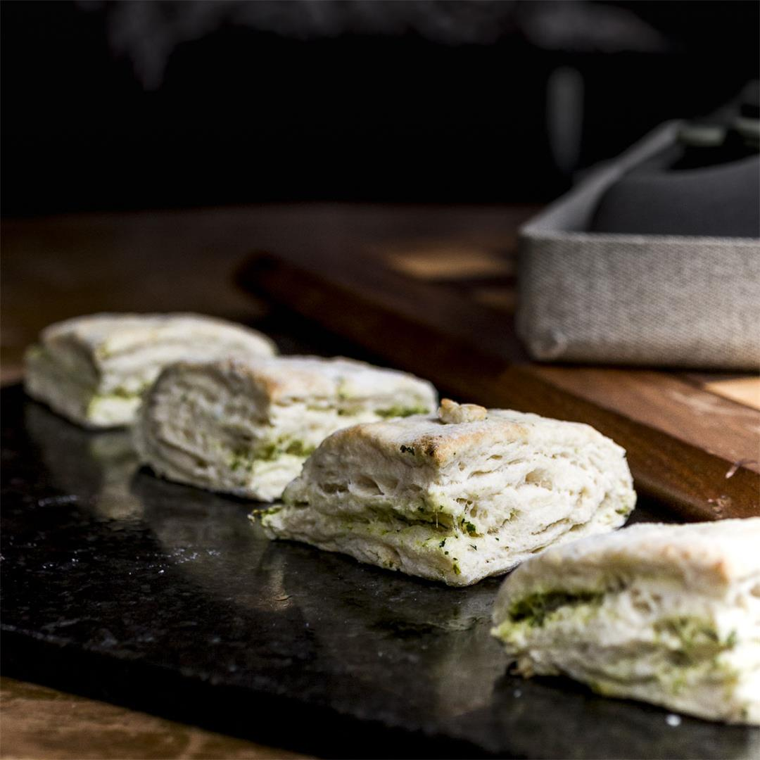 pickle brine pesto biscuits