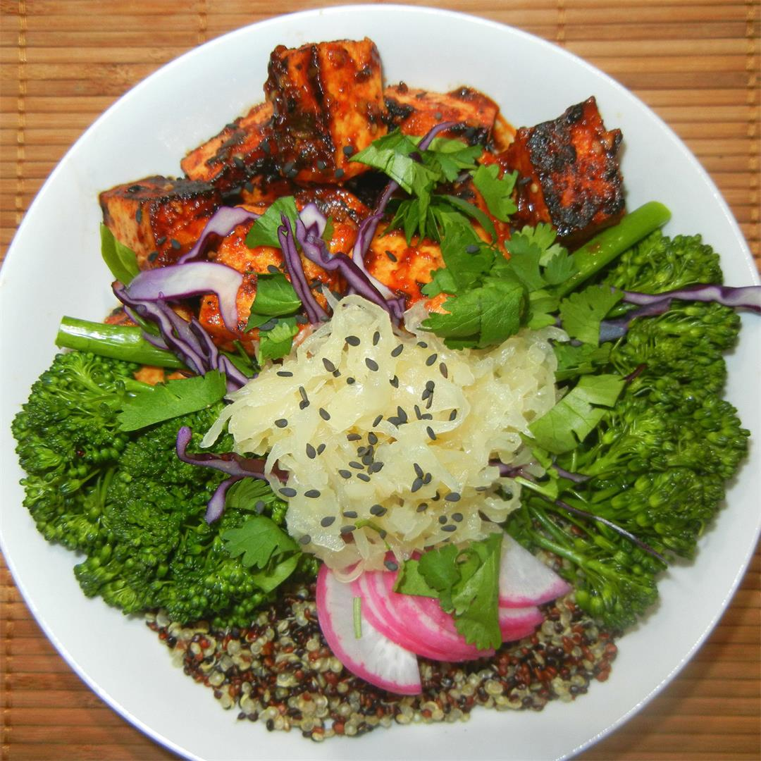 Korean BBQ Tofu Bowl with broccolini, quinoa and sauerkraut