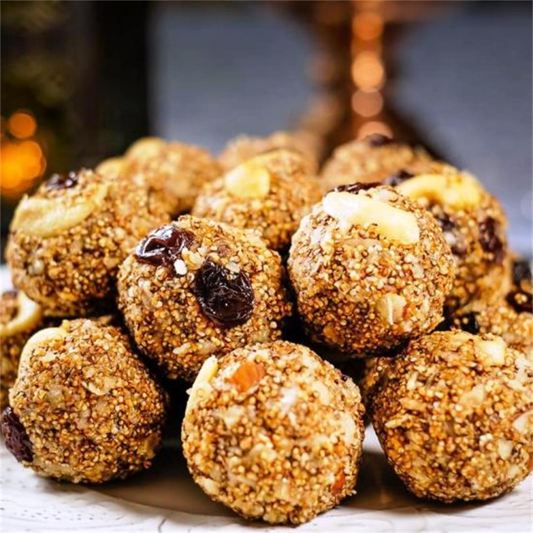 Amaranth Energy Balls with Dates and Cashews