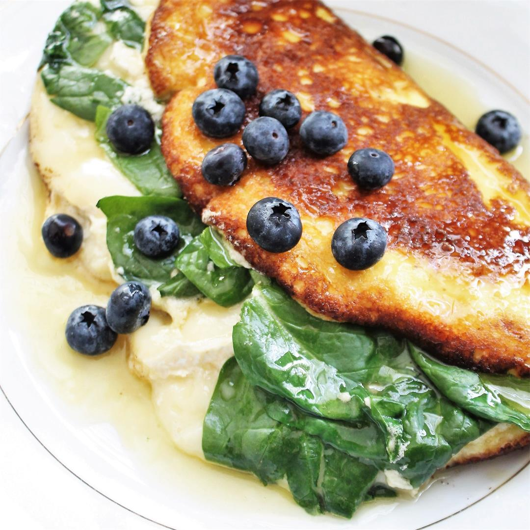 Soufflé Omelet with Spinach and Brie:  Savory meets Sweet!