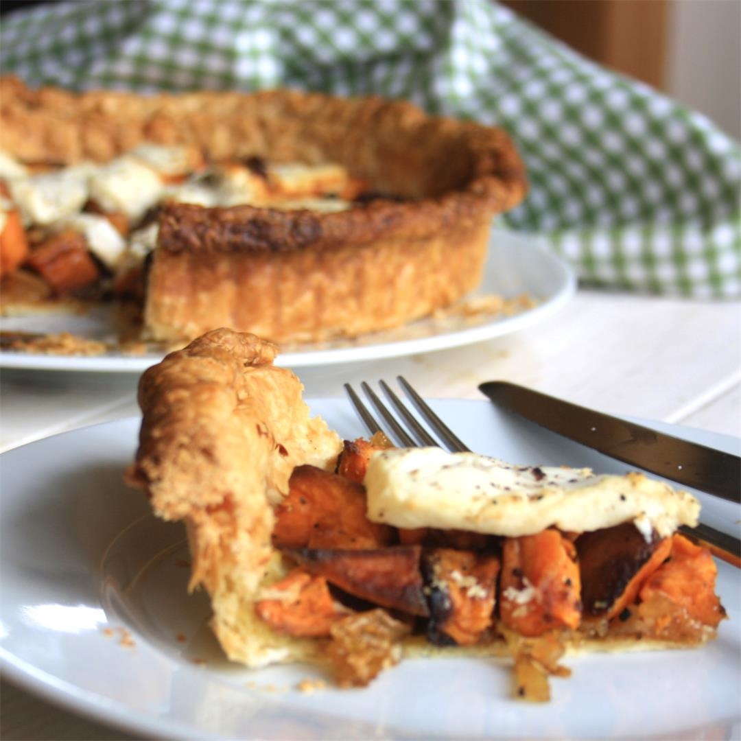 Roasted Sweet Potato Tart with Goat Cheese  & Onions