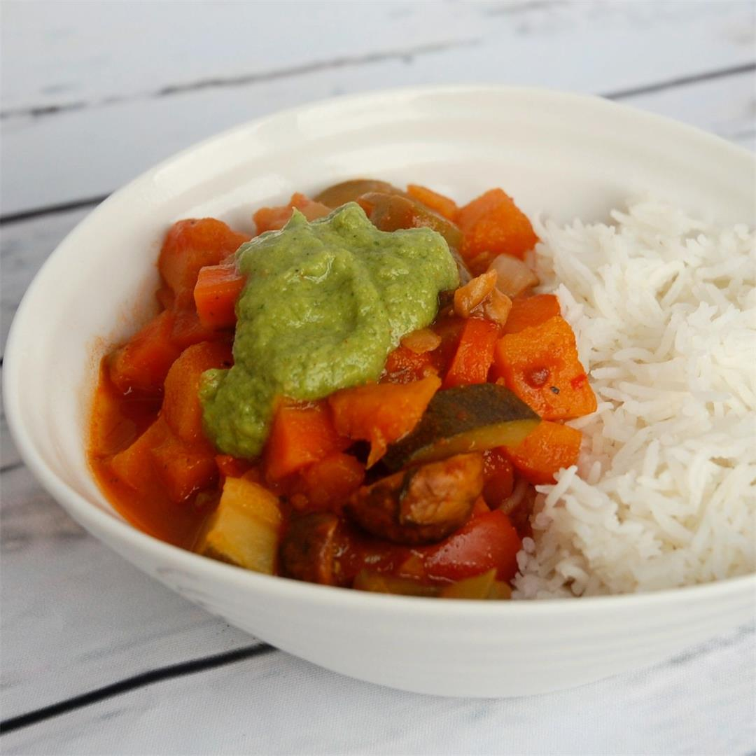 Argentinian-inspired veggie chilli with chimichurri