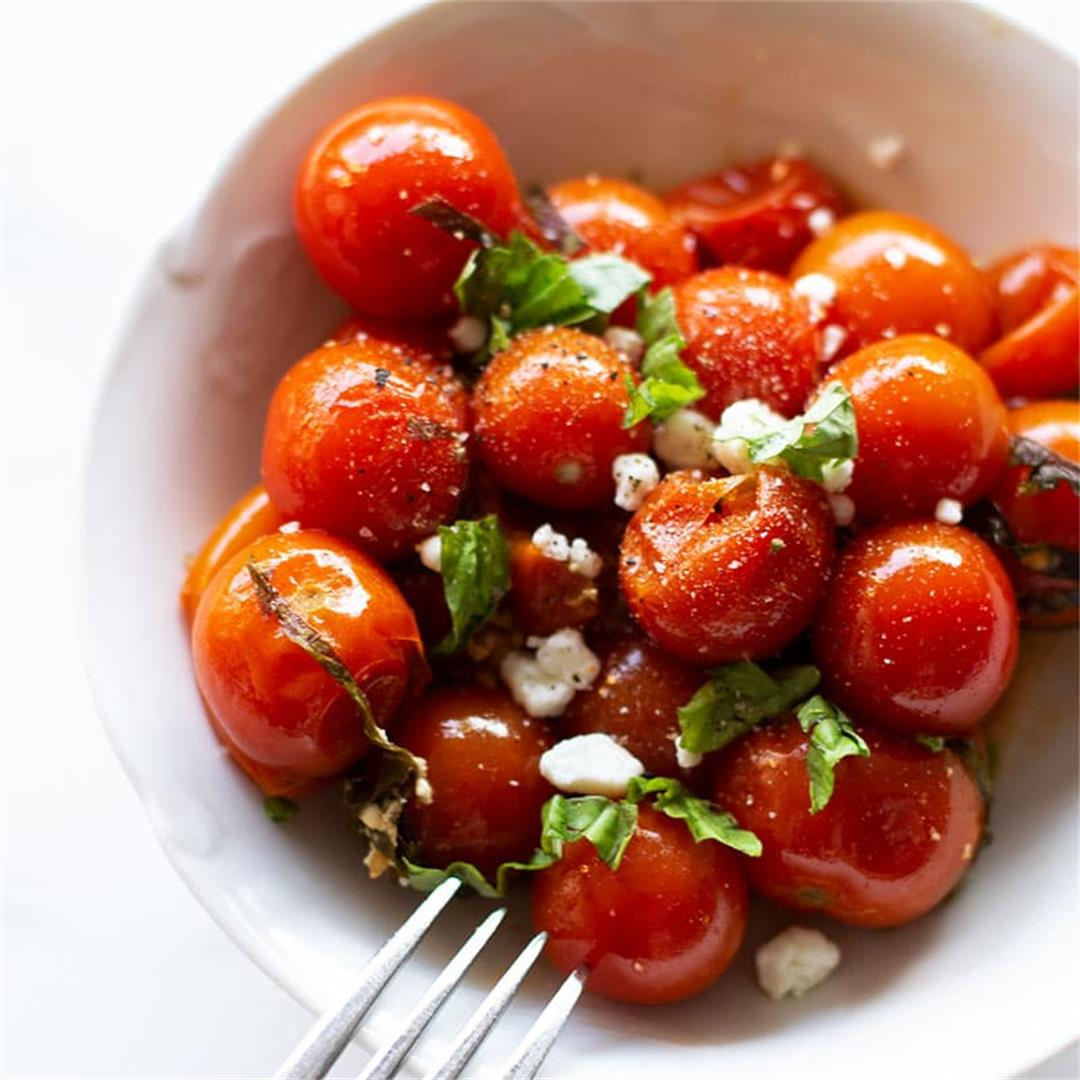 Smoked Cherry Tomatoes with Basil and Goat Cheese