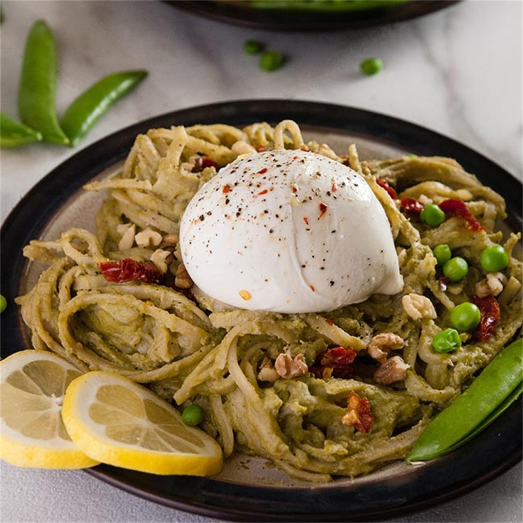 Pea Pesto Pasta with Burrata