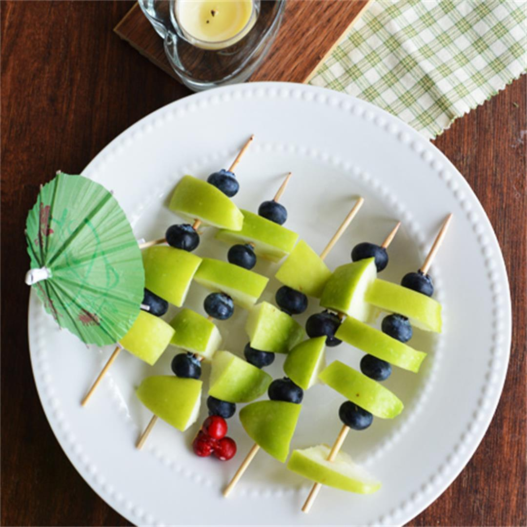 Green apple blueberry on skewer sticks