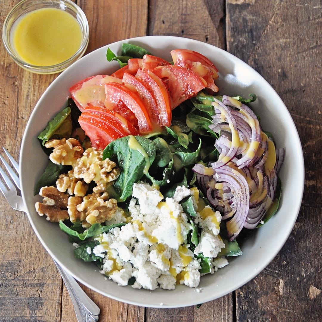 Spinach & Goat Cheese Salad with Honey Mustard Vinaigrette