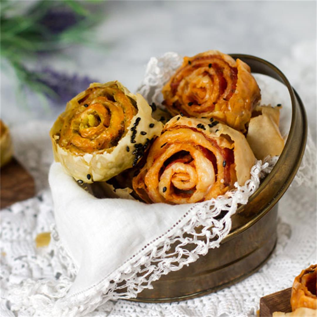 Twice-Baked Fillo Pinwheels – Two Ways