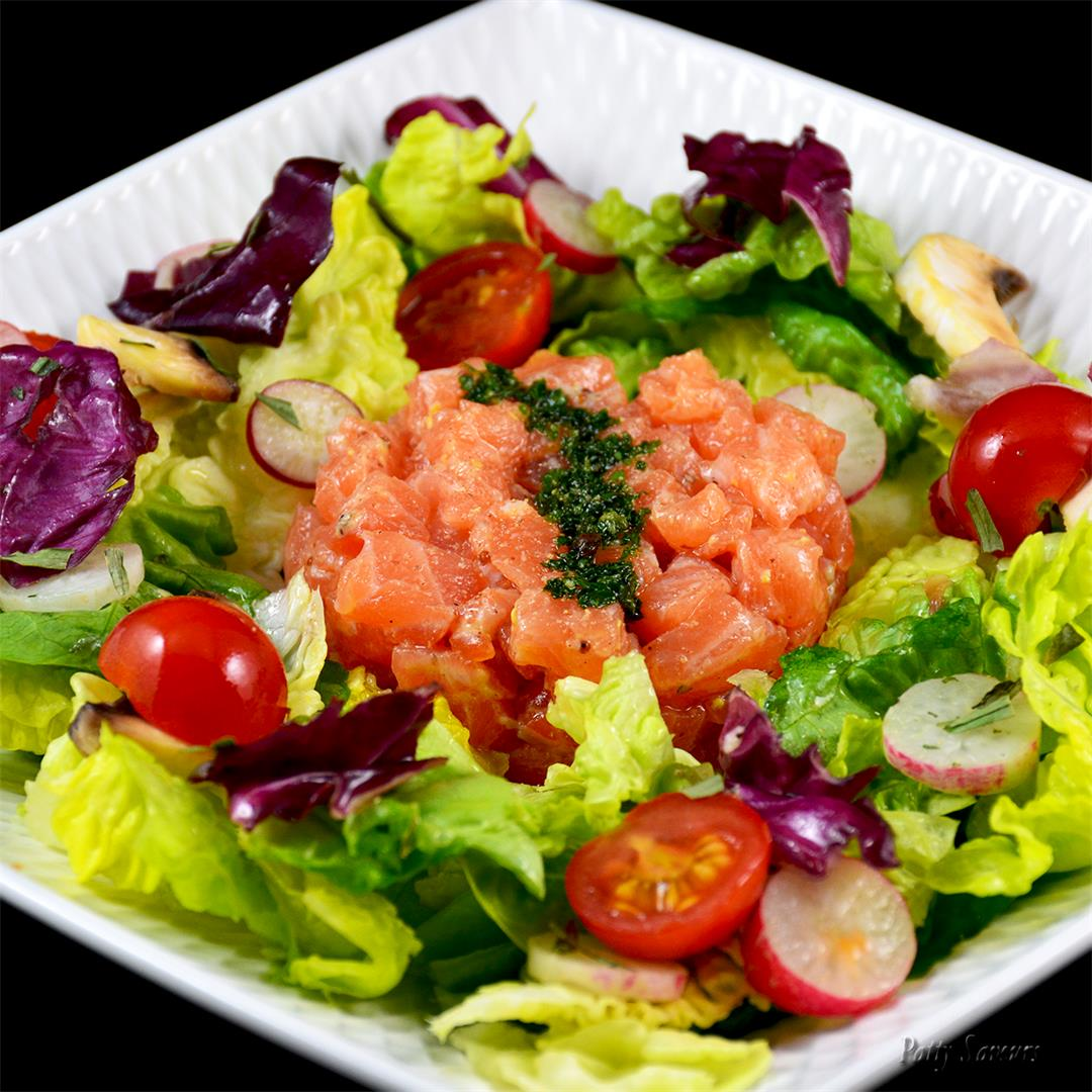 Salmon Tartar Over Mixed Salad
