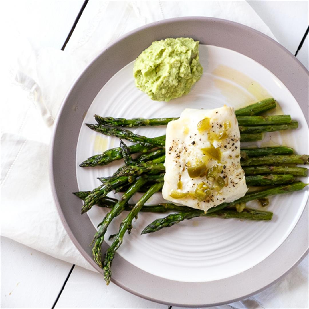 Roasted Cod with Asparagus and Jalapeño Dressing