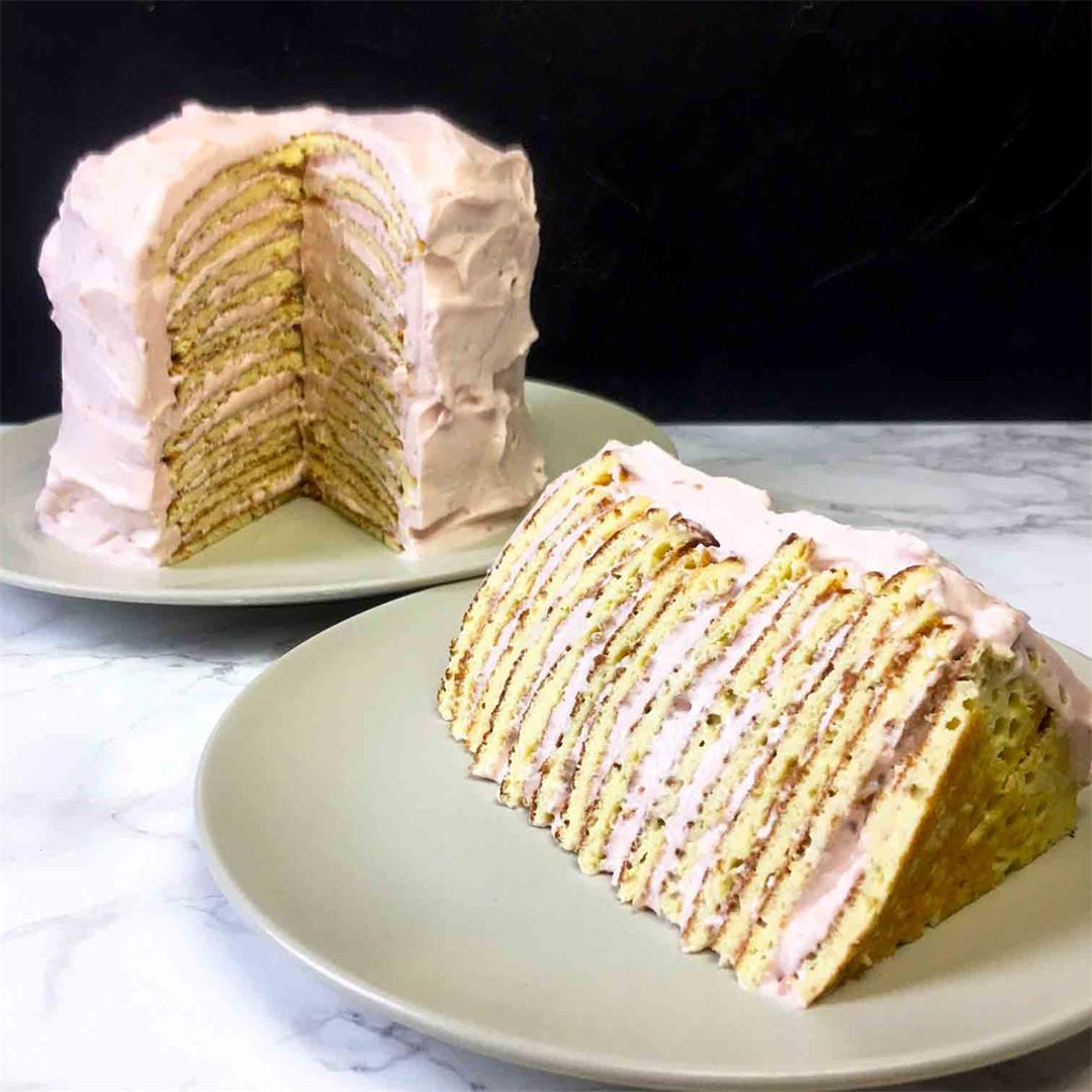 Low Carb Raspberry Crepe Layer Cake