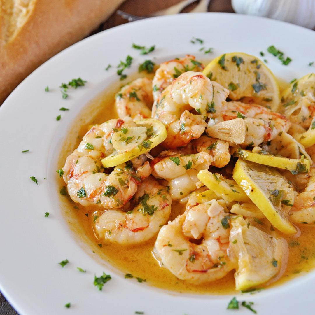 Spanish Garlic Shrimp with Lemon & Parsley