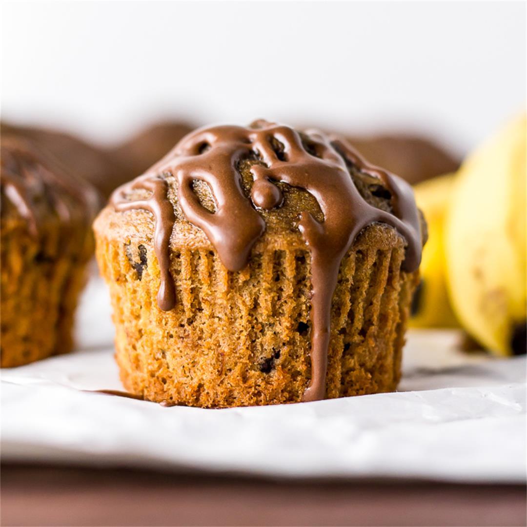 Espresso Banana Muffins + Chocolate Espresso Glaze