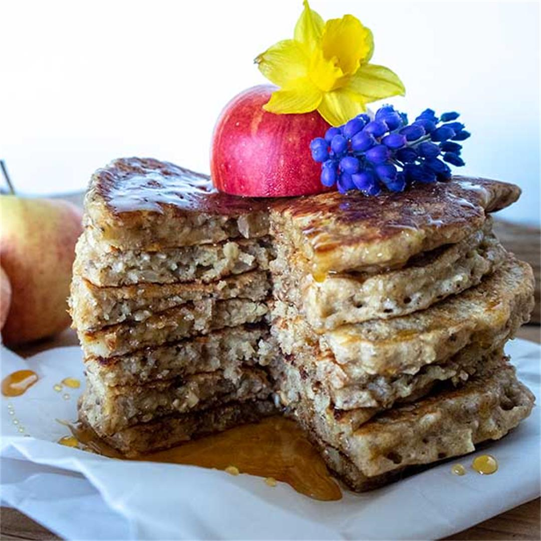 Gluten-Free Vegan Apple-Oatmeal Pancakes