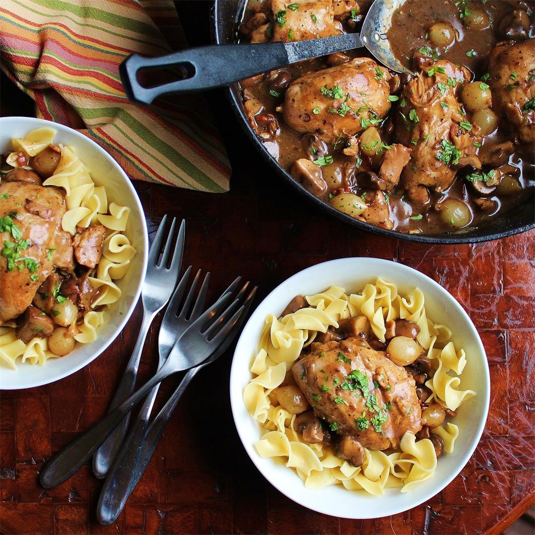 Chicken Stew with Mushrooms and Onions