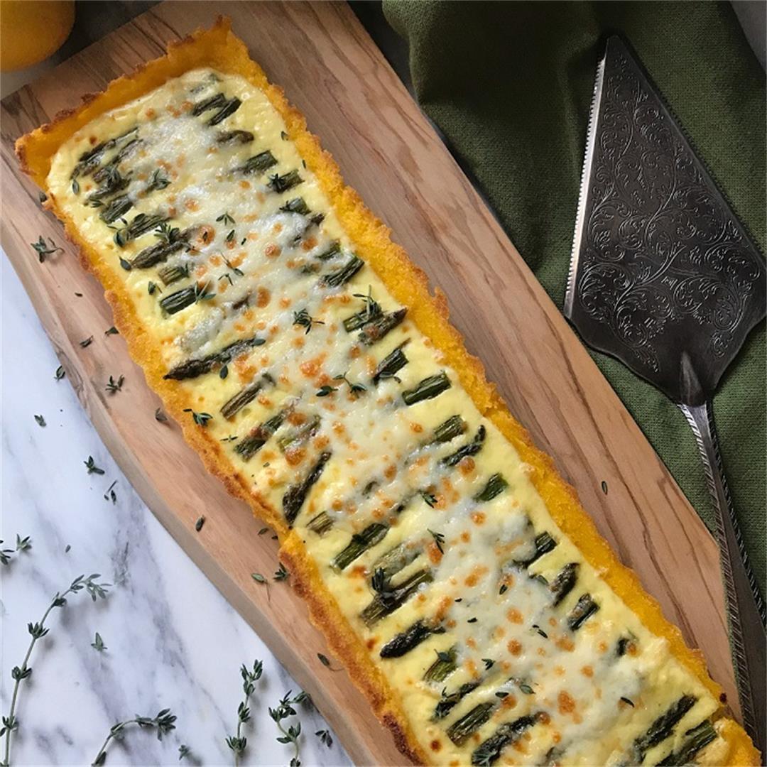 Asparagus Ricotta Tart (polenta crust)