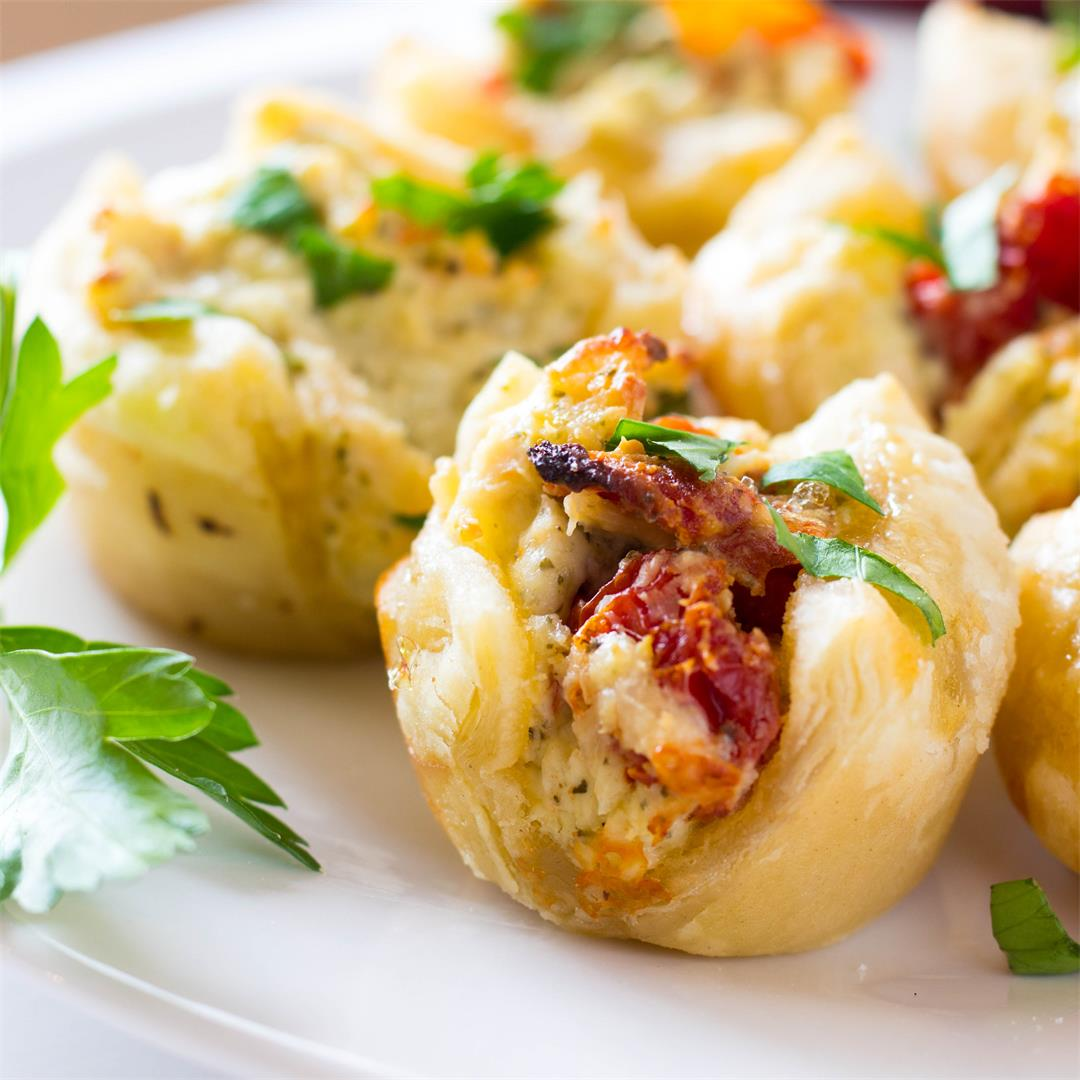 Puff Pastry Pesto Chicken Bites Appetizer
