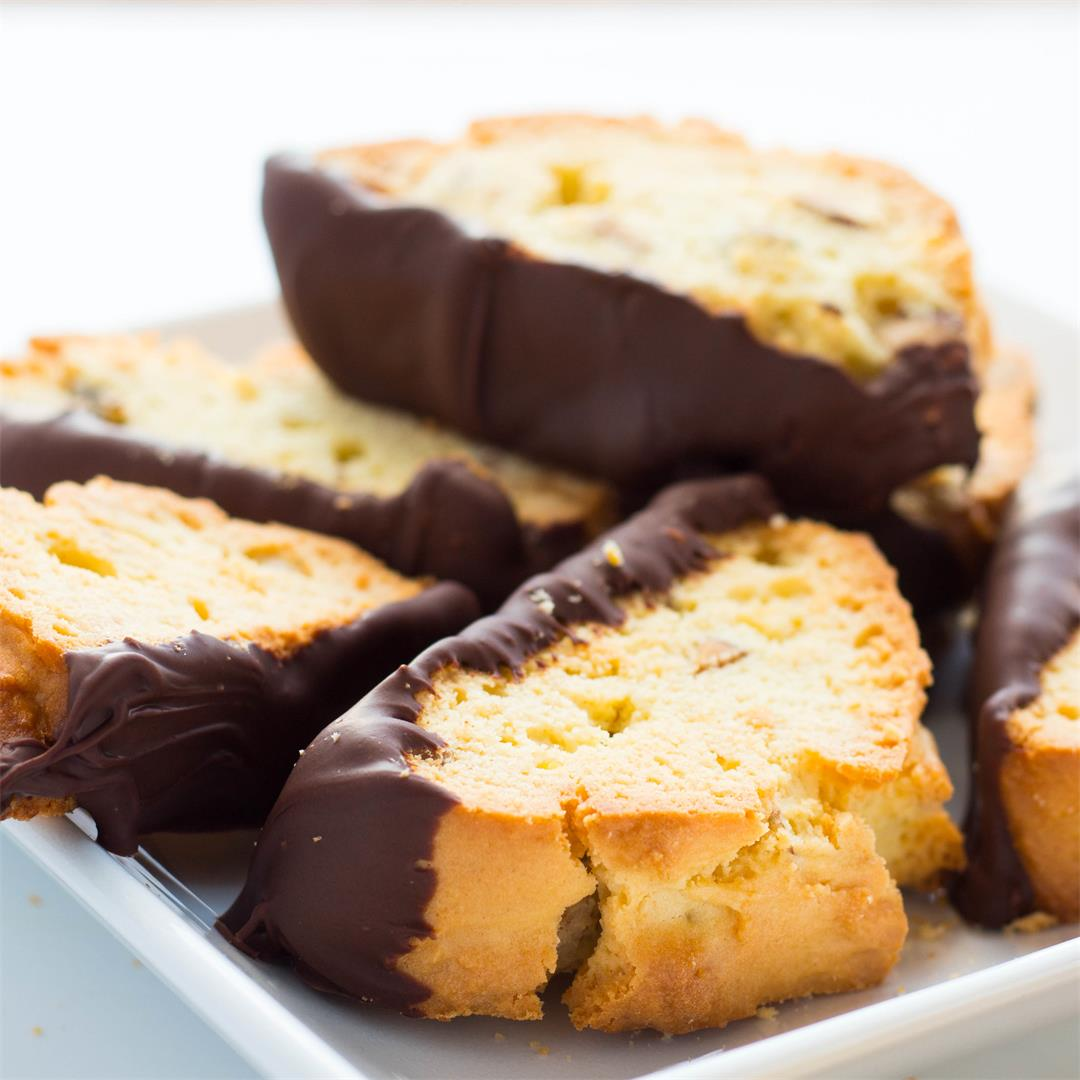 Chocolate Dipped Amaretto Biscotti